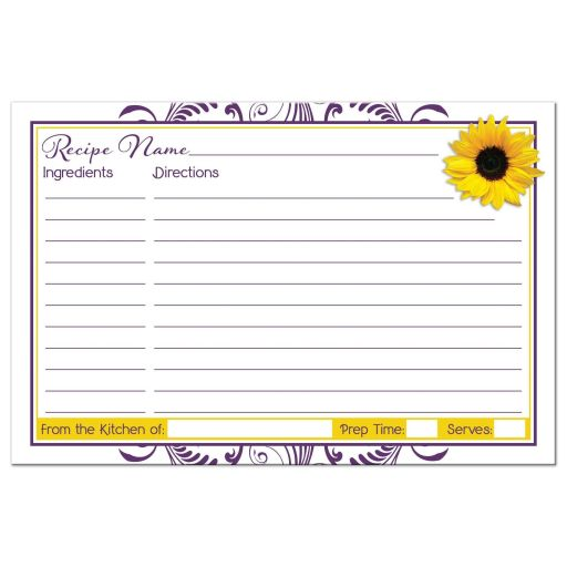 Purple and white floral, yellow sunflower bridal shower recipe card back