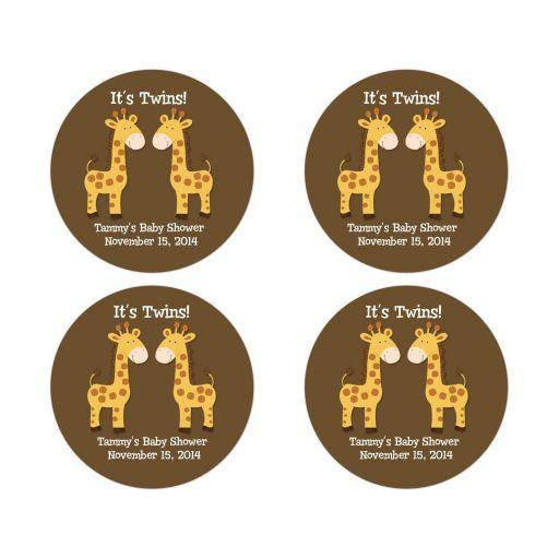 Twin Boy Giraffes Round Favor Stickers