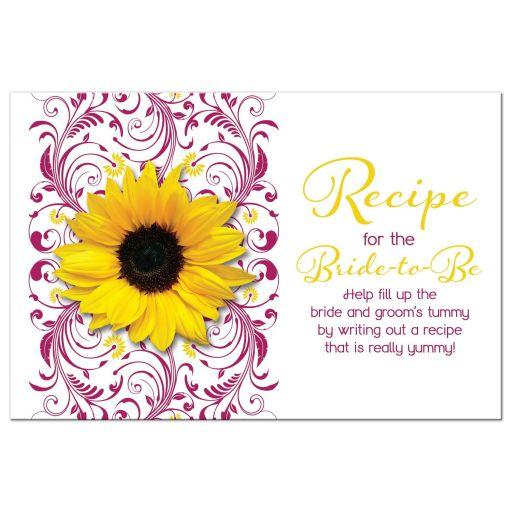 Berry pink and white floral, yellow sunflower bridal shower recipe card front