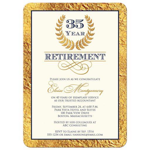 35 year retirement invitation with gold laurel wreath