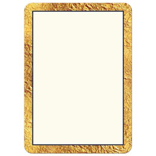 Elegant navy blue, ivory, and gold faux foil retirement invitation