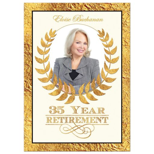 35 year retirement photo invitation with gold laurel wreath