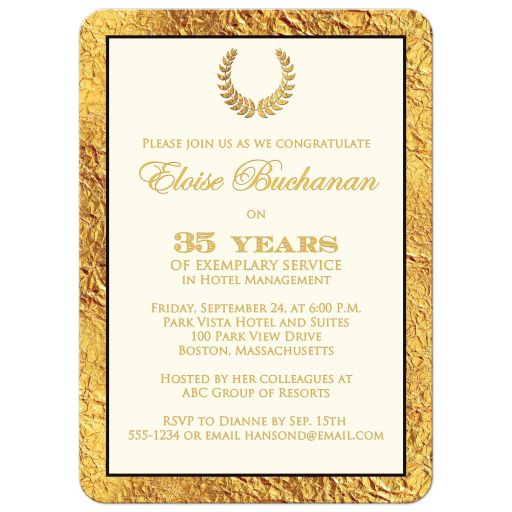 Elegant ivory, black, and gold faux foil retirement invitation with photo template