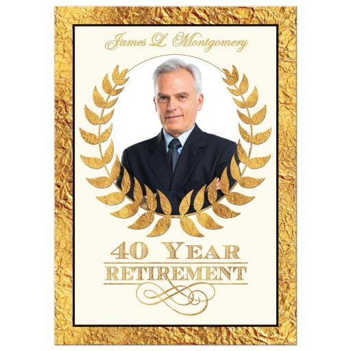 40 year retirement invitation with gold laurel wreath and photo template