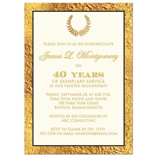 40 year retirement photo invitation with gold laurel wreath