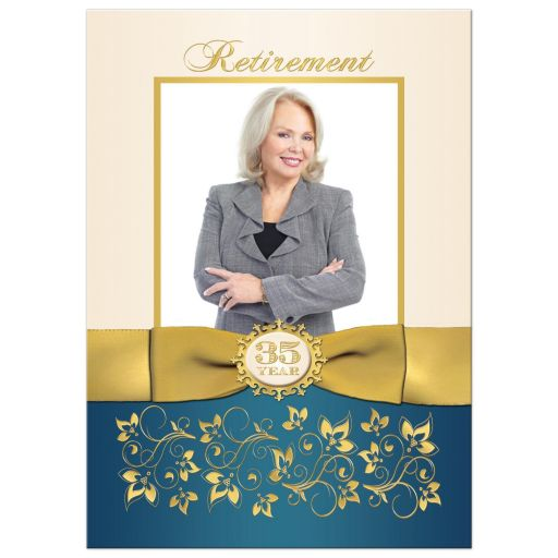 Best 35 year retirement photo invitation with gold flowers and ribbon