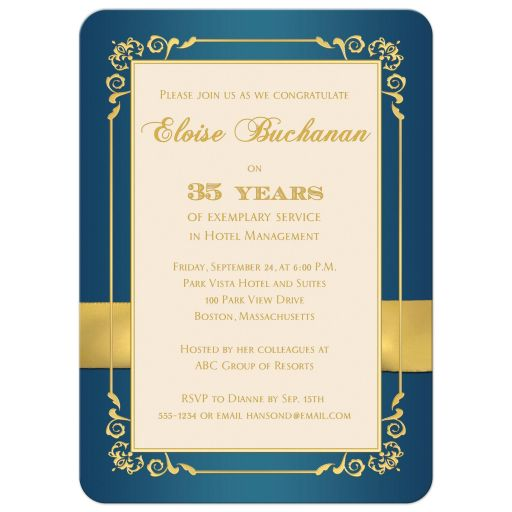 Great teal and gold floral milestone retirement invite with photo