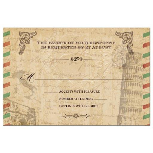 RSVP Postcard - Vintage Italian Airmail Parchment Look
