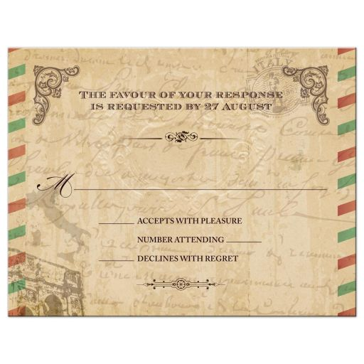 RSVP Reply Card - Vintage Italian Airmail Parchment Look