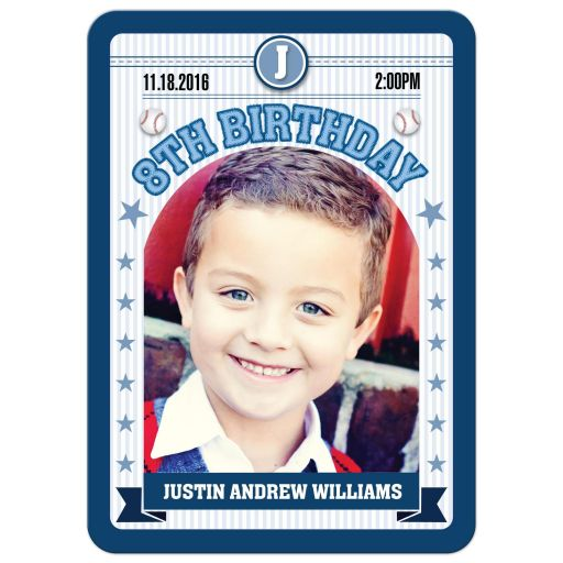 Birthday Party Invitation - Blue Baseball Sports Trading Photo Card