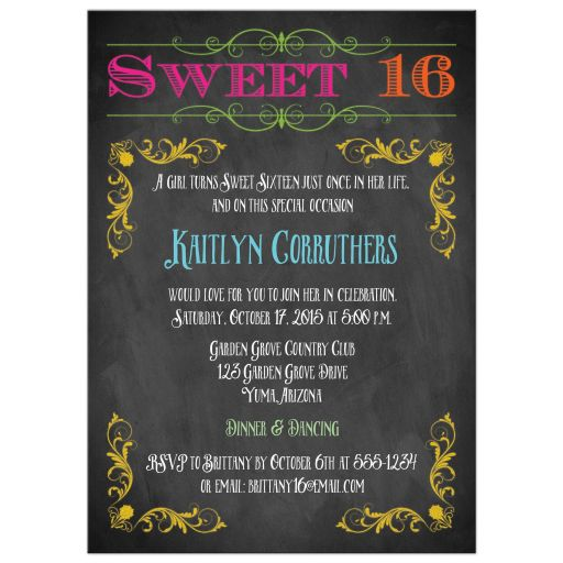 Chalkboard sweet 16 birthday invitation with neon colors and vintage scrolls and flourishes