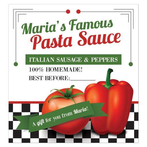 Retro Italian red pepper tomato homemade pasta sauce label