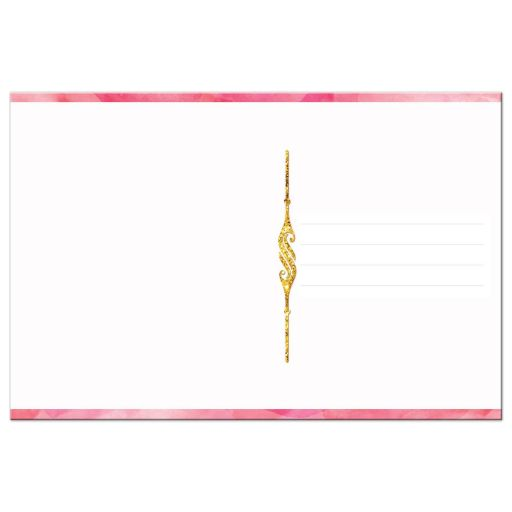 Pink watercolors and gold glitter scrolled thank you card