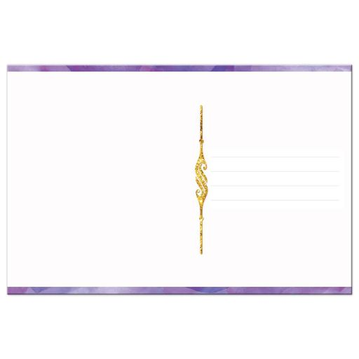 Purple watercolors and gold glitter scrolled thank you card