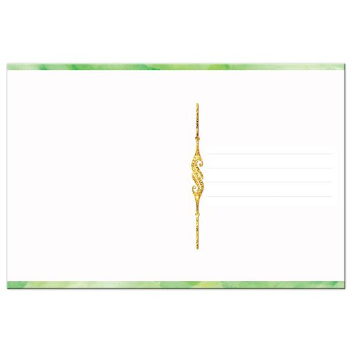 Lime green watercolors and gold glitter scrolled thank you card