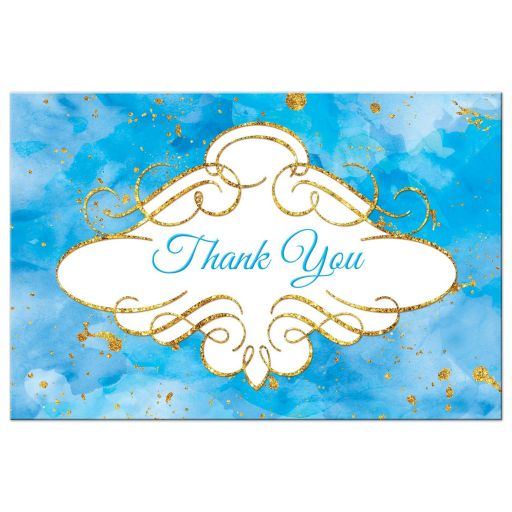 Watercolor thank you postcard with gold glitter in turquoise blue
