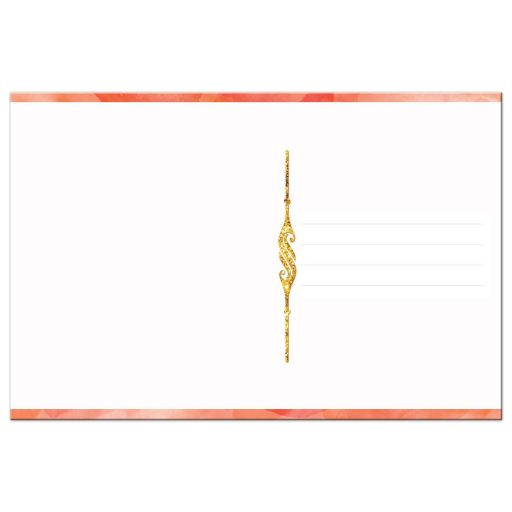 Orange watercolors and gold glitter scrolled thank you card