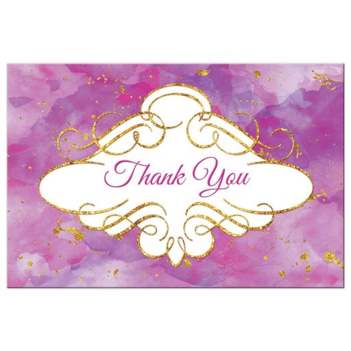 Watercolor thank you postcard with gold glitter in purple and pink
