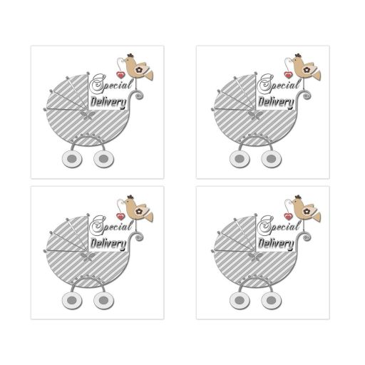 Cute Silver Striped Special Delivery Square Stickers