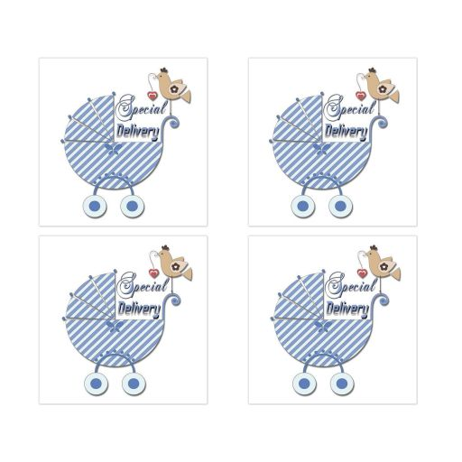 Cute Blue Striped Special Delivery Square Stickers