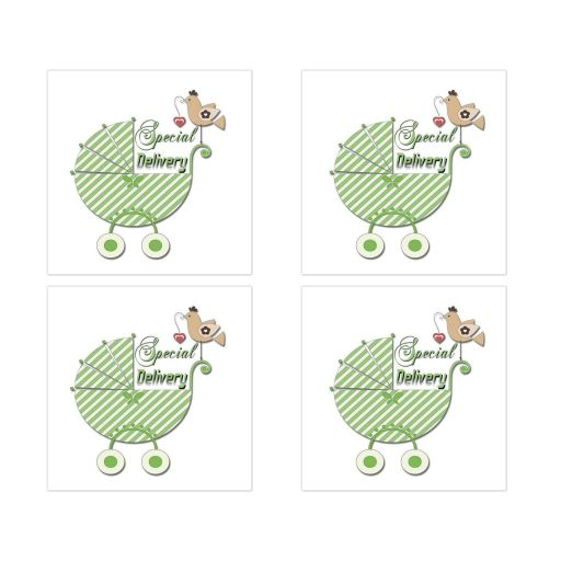 Cute Green Striped Special Delivery Square Stickers