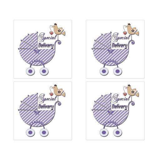 Cute Purple Striped Special Delivery Square Stickers