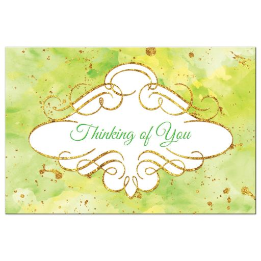 Watercolor thinking of you postcard with gold glitter in lime green