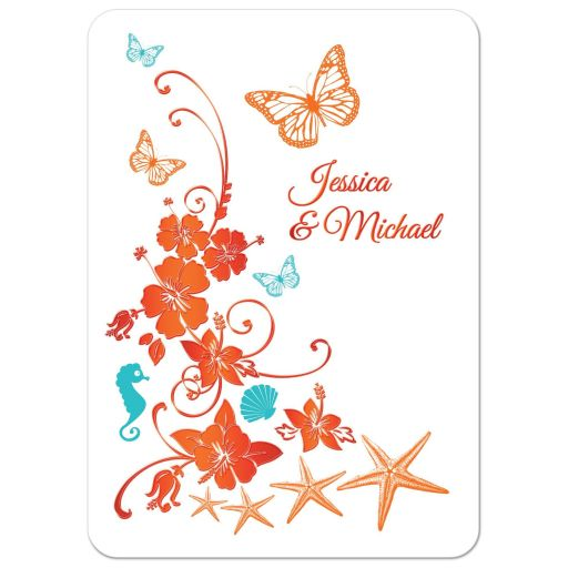 Blue, orange and white tropical beach theme destination wedding invitations with butterflies
