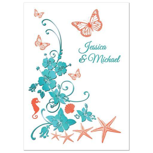 Aqua blue, orange and white tropical beach theme destination wedding invitations with butterflies