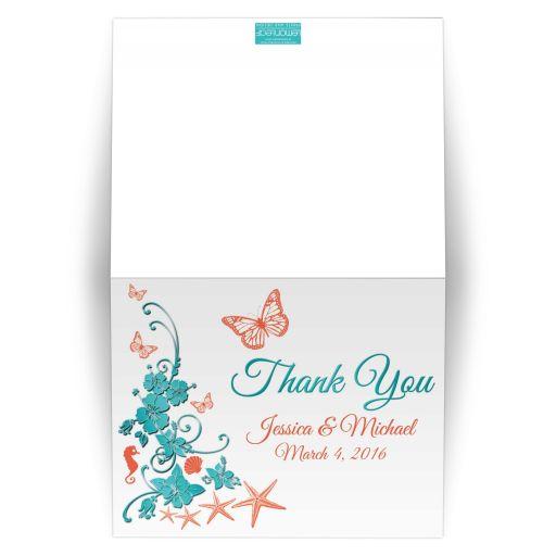 Aqua blue and orange beach theme photo wedding thank you card