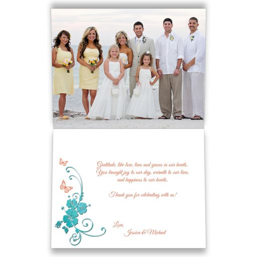Tropical turquoise blue and coral orange floral wedding thank you photo card with butterflies, starfish, and sea shells