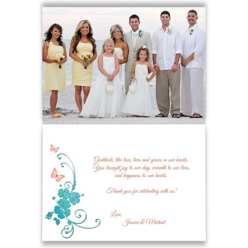 Personalized tropical turquoise blue and coral orange floral wedding thank you photo card with butterflies, starfish, and sea shells