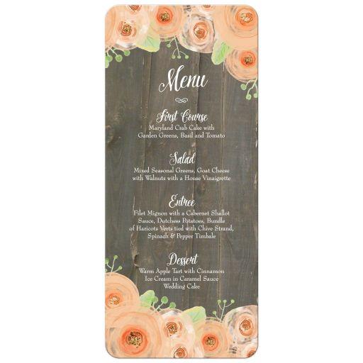 Rustic wood with peach watercolor flowers wedding food menu