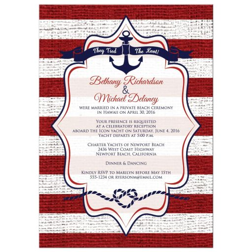 Nautical post-wedding reception only invitations with stripes, ribbon banners, and anchors