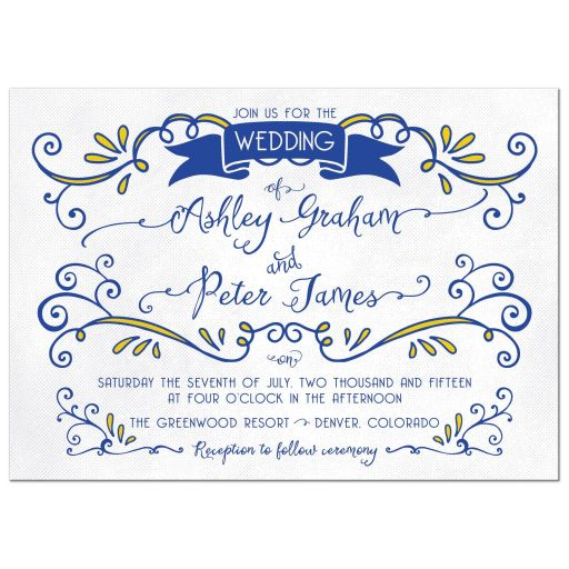 Royal blue and yellow whimsical vintage flourish wedding invitation