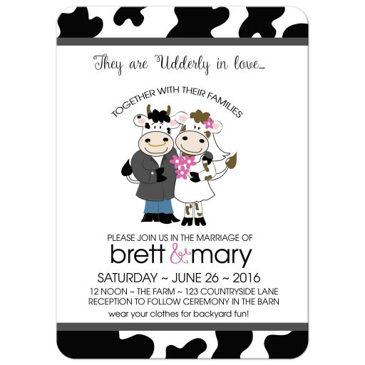 Cow Utterly in love farm wedding invitations