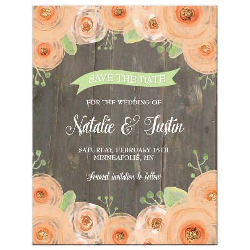 Rustic wood with peach watercolor flowers save the date magnet