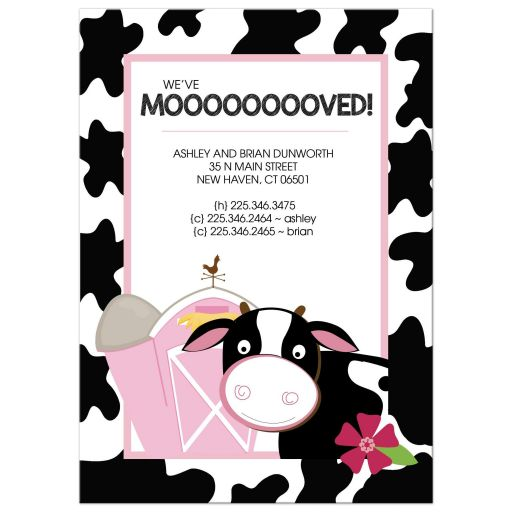 We've Mooooved Cow with Pink Barn Moving Announcement