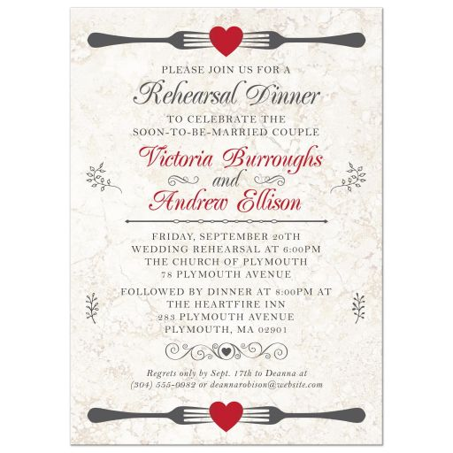 Rehearsal Dinner Invitation - Forked Hearts on Marble