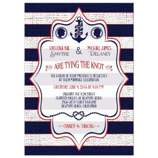 Nautical wedding invitations with stripes, ribbon banners, and anchors