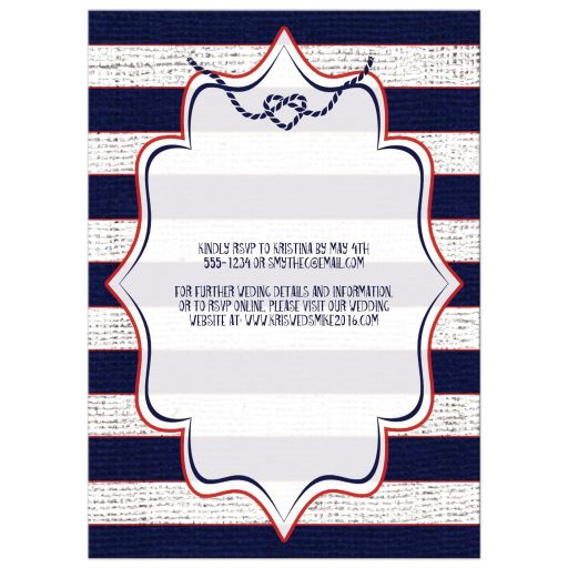Vintage wedding invitation with red, white and blue stripes, anchor, rope, tying the knot