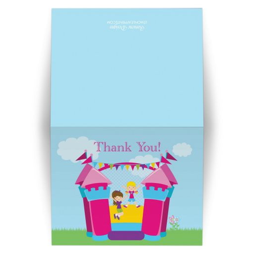 Bounce house girl's birthday thank you folded cards