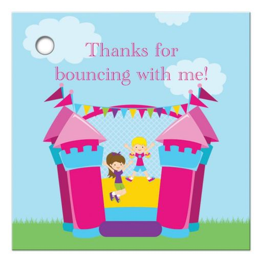 Girl's bounce house birthday party thank you favor gift tags