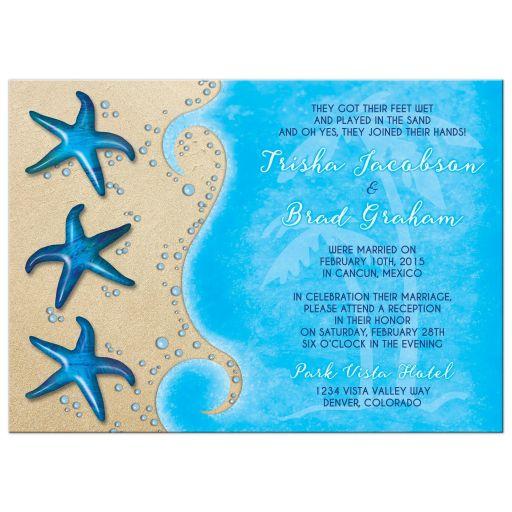 starfish beach tropical destination post wedding reception only invitation front