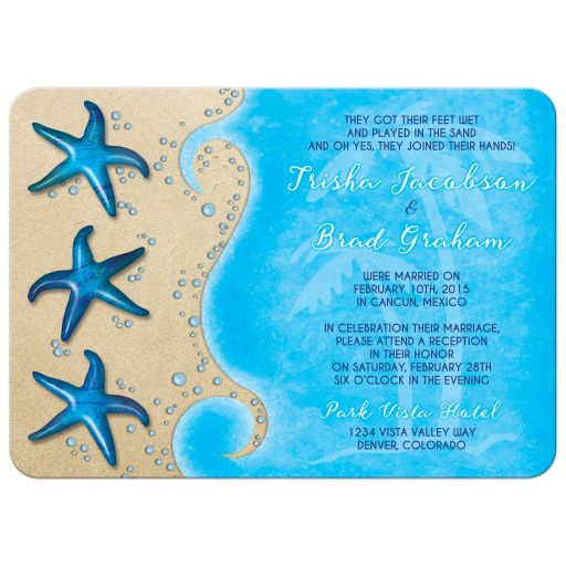 starfish beach tropical destination post wedding reception only invitation front