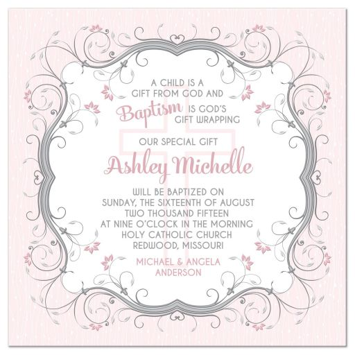 Pink grey and white floral vines and Christian cross Baptism invitation front