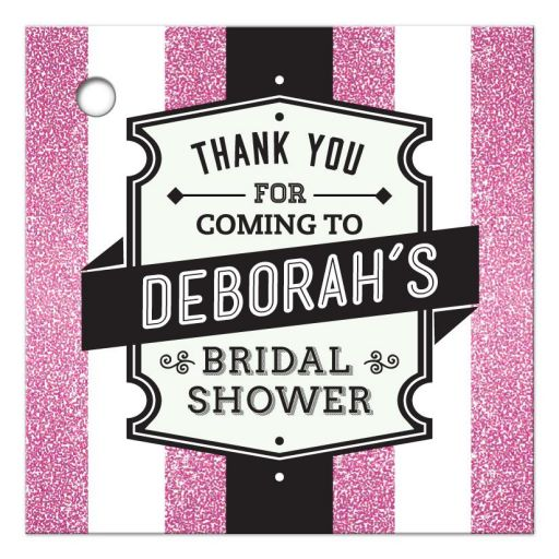 Bridal Shower Favor Tag - Retro Pink Glitter Stripes Wedding