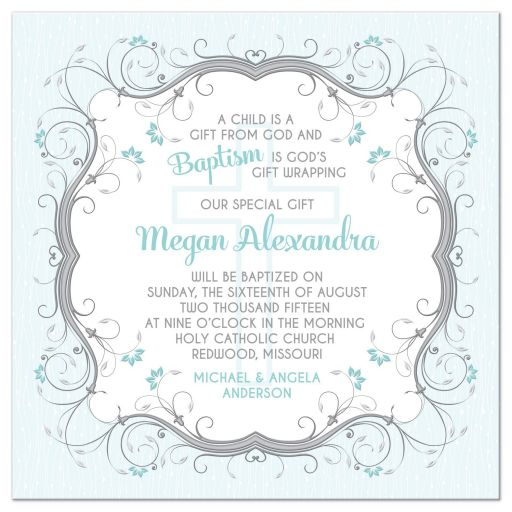 ​Blue, grey and white floral scroll vines and Christian cross Baptism invitation front