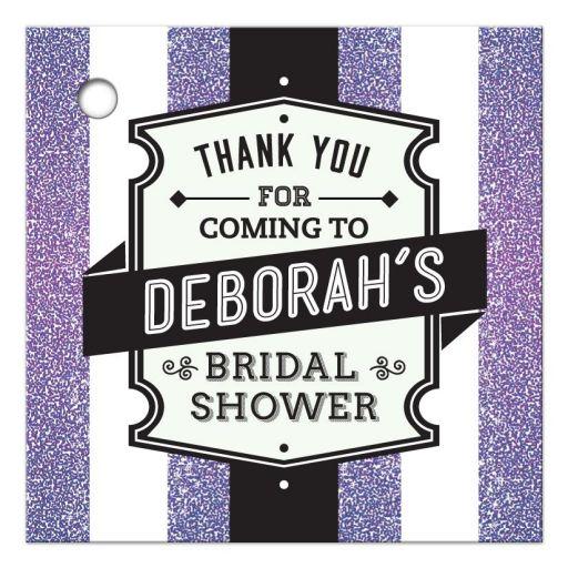 Bridal Shower Favor Tag - Retro Purple Glitter Stripes Wedding