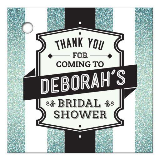 Bridal Shower Favor Tag - Retro Aqua Glitter Stripes Wedding